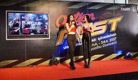 Option Thailand Fest 2014 BANGKOK, THAILAND- August 1,2014  Unidentified pretty MC on stage at Thunder dome,Muengthong Thanee Royalty Free Stock Image