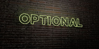 OPTIONAL -Realistic Neon Sign on Brick Wall background - 3D rendered royalty free stock image Royalty Free Stock Photography