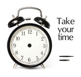 Optional time alarm clock. Blank old style alarmclock with clipping Royalty Free Stock Image