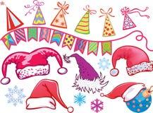 Optionen für Weihnachtshüte. Feiertagsfelder Stockfotos