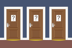 Options. Three doors with question marks on them. Options concept. Vector illustration Stock Photo