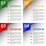 Options of colorful bent corners background Royalty Free Stock Image
