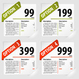 Options Frames. Four Subscription Options on Sheets Paper in Pockets, vector illustration royalty free illustration