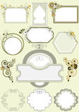 Options for frames with different patterns of curv. Options for different frames with the decor of the curves,circles and stars.Frame.Banner Royalty Free Stock Images