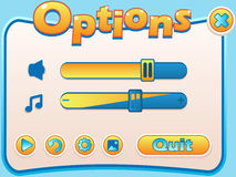 Options game panel. Vector illustration of options game panel for your design royalty free illustration
