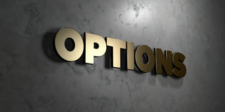 Options - Gold sign mounted on glossy marble wall  - 3D rendered royalty free stock illustration. This image can be used for an online website banner ad or a Royalty Free Stock Photos