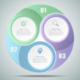 options infographic du cercle 3d 3, concept d'affaires infographic illustration stock