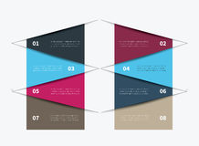 8 options infographic table. Vector tabular summary in table design graphic Royalty Free Stock Images