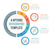 4 Options Infographic Template. With line icons for presentations, reports, brochures etc, can be used as steps, workflow, process Royalty Free Stock Photography