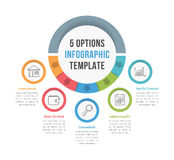 5 Options Infographic Template. With line icons for presentations, reports, brochures etc, can be used as steps, workflow, process Royalty Free Stock Images