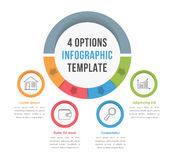 4 Options Infographic Template. With line icons for presentations, reports, brochures etc, can be used as steps, workflow, process Royalty Free Stock Photo