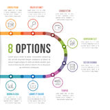 8 Options Infographic Template. With line icons for prsentations, reports, brochures etc, can be used as steps, workflow, process Royalty Free Stock Photo
