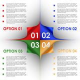 Options progress of colorful bent corners background Royalty Free Stock Photos