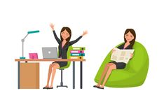 Options rest, relaxation at work. Exercises next to work desk. Options for rest, relaxation at work. Exercises next to work desk, rest, relaxation sit in chair Stock Photos