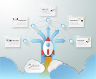 5 options startup infographics with rocket launch, Infographic template for business concept. 5 options startup infographics with rocket launch, Infographic vector illustration