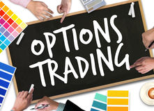 OPTIONS TRADING investment in option trade of trader Business co. Ncept stock photo