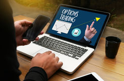 OPTIONS TRADING investment in option trade of trader Business co Stock Image