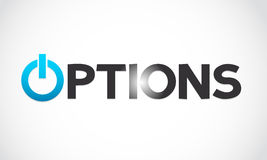 Options word with power icon Stock Photo