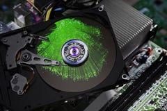 Optique des fibres d'unité de disque dur de l'électronique Image libre de droits