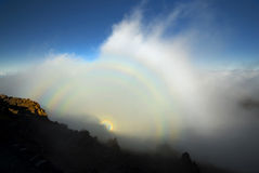 Optisch fenomeen, het Nationale Park van Haleakala, Maui, Hawaï stock foto's