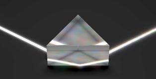 Optisch prisma dat op lichtstraal wijst
