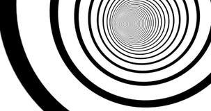 Optische 3d illusielengte Zwart-wit gestreepte tunnel binnen motie Zwart-witte hypnotic spiraalvormige animatie eindeloos stock footage