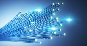 Optische die vezels aan een kabel worden gebundeld - 3D illustratie vector illustratie