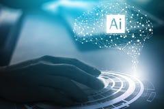 Optische Effekte Zukünftige TechnologieTouch Screen Schnittstelle Das Arbeiten mit zukünftiger Technologie nannte Ai künstliche I lizenzfreie stockfotos