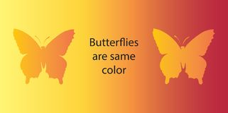 Optische illusie Beide vlinders zijn dezelfde kleur Royalty-vrije Stock Afbeelding