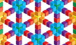 Optische illusie, kleurrijke abstracte vectorkubus en vierkantenachtergrond royalty-vrije illustratie