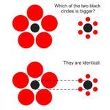 Optische illusie met de grootte van cirkels vector illustratie