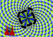 Optische illusie Pijltjes met dartboard vector illustratie