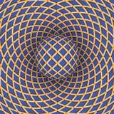Optische illusie van omwenteling van de bal tegen de achtergrond van een bewegende ruimte royalty-vrije illustratie