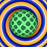 Optische illusie van omwenteling van de bal tegen de achtergrond van een bewegende spiraal royalty-vrije illustratie