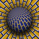 Optische illusie vectorillustratie Blauw geel metselwerk gevormd gebied die boven dezelfde oppervlakte stijgen royalty-vrije illustratie