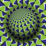 Optische illusie vectorillustratie Blauwgroen gevormd gebied die boven dezelfde oppervlakte stijgen royalty-vrije illustratie