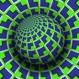 Optische illusie vectorillustratie Blauwgroen pijlen gevormd gebied dat boven dezelfde oppervlakte stijgt royalty-vrije illustratie