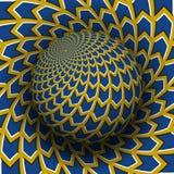 Optische illusie vectorillustratie Geel blauw pijlen gevormd gebied die boven dezelfde oppervlakte stijgen vector illustratie