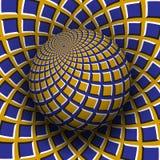 Optische illusie vectorillustratie Geel blauw vierkanten gevormd gebied dat boven dezelfde oppervlakte stijgt stock illustratie