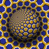 Optische illusie vectorillustratie Geel blauw zeshoeken gevormd gebied die boven dezelfde oppervlakte stijgen vector illustratie