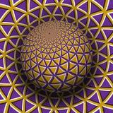 Optische illusie vectorillustratie Geel purper driehoeken gevormd gebied die boven dezelfde oppervlakte stijgen royalty-vrije illustratie