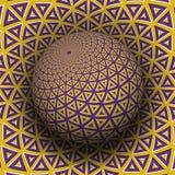 Optische illusie vectorillustratie Geel purper driehoekig elementen gevormd gebied die boven dezelfde oppervlakte stijgen vector illustratie