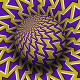 Optische illusie vectorillustratie Geel purper gevormd gebied die boven dezelfde oppervlakte stijgen stock illustratie