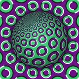 Optische illusie vectorillustratie Groen purper ringen gevormd gebied die boven dezelfde oppervlakte stijgen stock illustratie