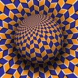 Optische illusie vectorillustratie Oranje blauw ruiten gevormd gebied die boven dezelfde oppervlakte stijgen royalty-vrije illustratie