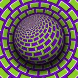 Optische illusie vectorillustratie Purper groen metselwerk gevormd gebied dat boven dezelfde oppervlakte stijgt vector illustratie