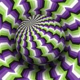 Optische illusie vectorillustratie Purper groen wit zwart gevormd gebied die boven dezelfde oppervlakte stijgen royalty-vrije illustratie