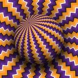 Optische illusie vectorillustratie Purper oranje zigzag gevormd gebied dat boven dezelfde oppervlakte stijgt stock illustratie