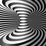 Optische illusie - Wormhole Abstracte 3d gestreepte illusie Ontwerp van optische illusieachtergrond Vector illustratie stock illustratie