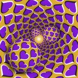 Optische illusieillustratie Drie ballen met een hartenpatroon bewegen op roterende purpere harten gouden trechter Stock Foto's